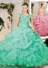2016 Popular Brush Train Quinceanera Dresses with Appliques and Ruffles