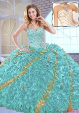 2016 Spring Gorgeous Beading Quinceanera Dresses with Beading and Ruffles