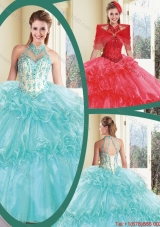 Elegant Halter Top Quinceanera Dresses with Appliques and Ruffles