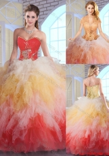 Fashionable Luxurious Appliques and Ruffles Quinceanera Dresses in Multi Color