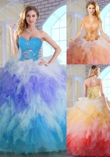Latest Winter Appliques and Ruffles Quinceanera Dresses in Multi Color