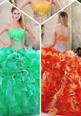 Luxurious Strapless Quinceanera Dresses with Sequins and Ruffles