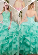 New Appliques and Ruffles Sweet 16 Dresses in Turquois