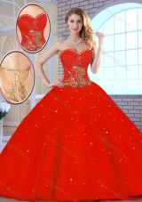 New Arrivals Red Sweetheart Quinceanera Gowns with Beading