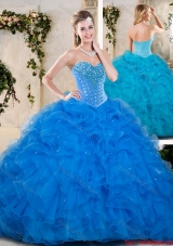 Popular Beading and Ruffles Quinceanera Dresses in Blue