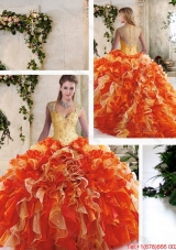 Pretty Multi Color Quinceanera Gowns with Beading and Ruffles