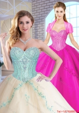 2015 Fall Elegant Sweetheart Quinceanera Dresses with Appliques and Sequins