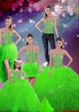 2015 Fall Luxurious Beaded Sweetheart Detachable Sweet 16 Dresses with Floor Length
