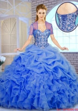 2016 Best Selling Beading and Ruffles Quinceanera Dresses in Blue