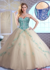 2016 Pretty Champagne Quinceanera Dresses with Appliques and Beading