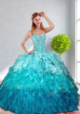 2016 Summer Cheap Multi Color Quinceanera Gown with Ruffles and Beading