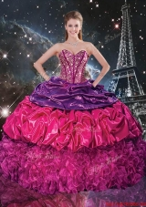 Fashionable 2016 Fall Beaded Multi Color Quinceanera Dresses with Pick Ups and Ruffles