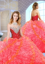 Formal Sweetheart Quinceanera Gowns with Beading and Ruffles