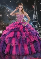 Luxurious 2015 Fall Beaded and Sweetheart Quinceanera Dresses in Multi Color