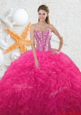 2016 Beautiful Sweetheart Hot Pink Quinceanera Dresses with Beading