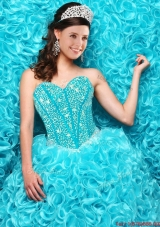 2016 Gorgeous Aqua Blue Quinceanera Dresses with Beading and Ruffles