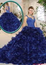2016 Perfect Straps Brush Train Quinceanera Gowns in Royal Blue