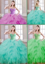 2016 Popular Ball Gown Quinceanera Dresses with Beading and Ruffles