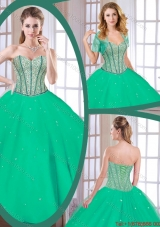 2016 Spring Latest Green Sweetheart Quinceanera Gowns with Beading