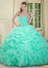 2016 Summer Elegant Apple Green Quinceanera Dresses with Beading and Ruffles