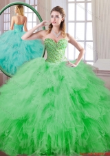 Beautiful Spring Green Sweet 16 Dresses with Beading for 2016 Spring