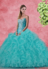 Beautiful Strapless Beaded and Ruffles Quinceanera Dresses in Aqua Blue
