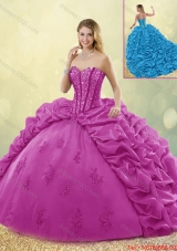Best Selling Brush Train Beading Quinceanera Dresses in Fuchsia