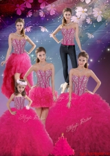 Detachable Sweetheart Beaded and Ruffles Wonderful Quinceanera Dresses in Hot Pink