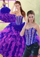 Exclusive Multi Color Brush Train Quinceanera Dresses