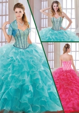 Fashionable Hot Sale Beading and Ruffles Quinceanera Dresses with Sweetheart