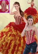 Luxurious Beading and Ruffles Quinceanera Dresses in Multi Color