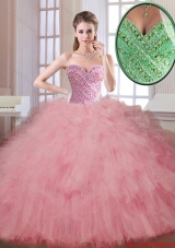 Luxurious Beading and Ruffles Quinceanera Dresses in Watermelon
