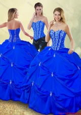 Luxurious Floor Length Detachable Quinceanera Dresses with Pick Ups