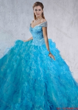 Fashionable Beaded and Laced 2016 Quinceanera Gowns with Brush Train