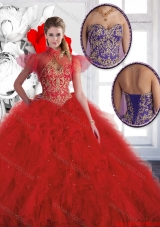 Luxurious Red Sweetheart Quinceanera Gowns with Beading for 2016 Spring