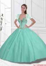 New Style Sweetheart Beaded Quinceanera Gowns in Apple Green