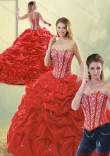 2015 Fall Perfect Sweetheart Detachable Quinceanera Dresses with Beading and Pick Ups