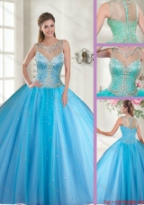 Beautiful Scoop Tulle Sweet 16 Dresses with Beading