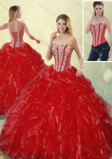 Fashionable Luxurious Sweetheart Quinceanera Gowns in Wine Red for 2016