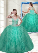 Fashionable Scoop Turquoise Quinceanera Gowns with Zipper Up for 2016 Spring