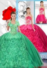 Beaded and Ruffles Inexpensive Detachable Quinceanera Dresses