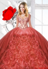 Beautiful Ruffles Rust Red Quinceanera Dresses with Straps for 2016 Spring