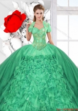 Fashionable Ruffles and Beaded Quinceanera Dresses in Green for 2016 Spring
