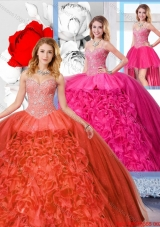 Latest Detachable Quinceanera Dresses with Beading and Ruffles