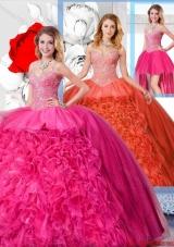 Modest Ball Gown Straps 2016 Detachable Quinceanera Dresses