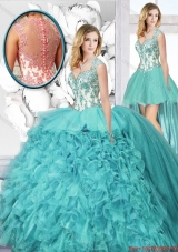 Popular Straps Detachable Quinceanera Dresses with Appliques and Ruffles