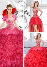 Pretty Sweetheart Detachable Quinceanera Dresses with Ruffles