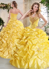 Gorgeous Ball Gown Quinceanera Gowns with Beading and Pick Ups for Spring