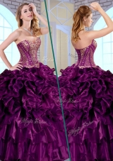 Gorgeous Ball Gown Sweetheart Ruffles and Appliques Quinceanera Gowns