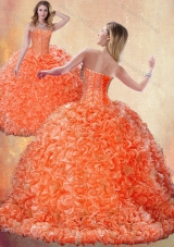Fashionable Brush Train Orange Quinceanera Dresses with Beading and Ruffles